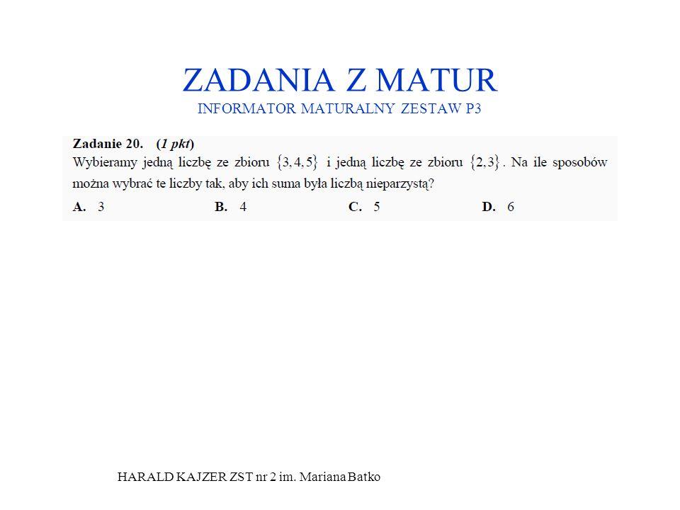HARALD KAJZER ZST nr 2 im. Mariana Batko ZADANIA Z MATUR INFORMATOR MATURALNY ZESTAW P3