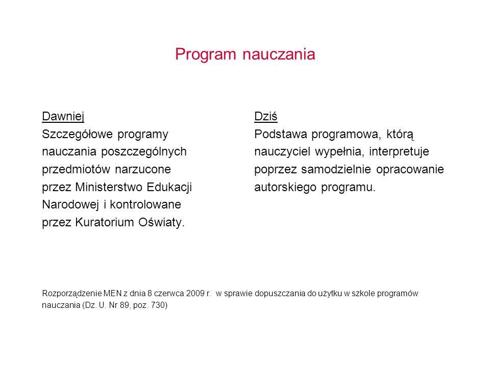 Program nauczania Dawniej Szczegółowe programy nauczania poszczególnych przedmiotów narzucone przez Ministerstwo Edukacji Narodowej i kontrolowane prz