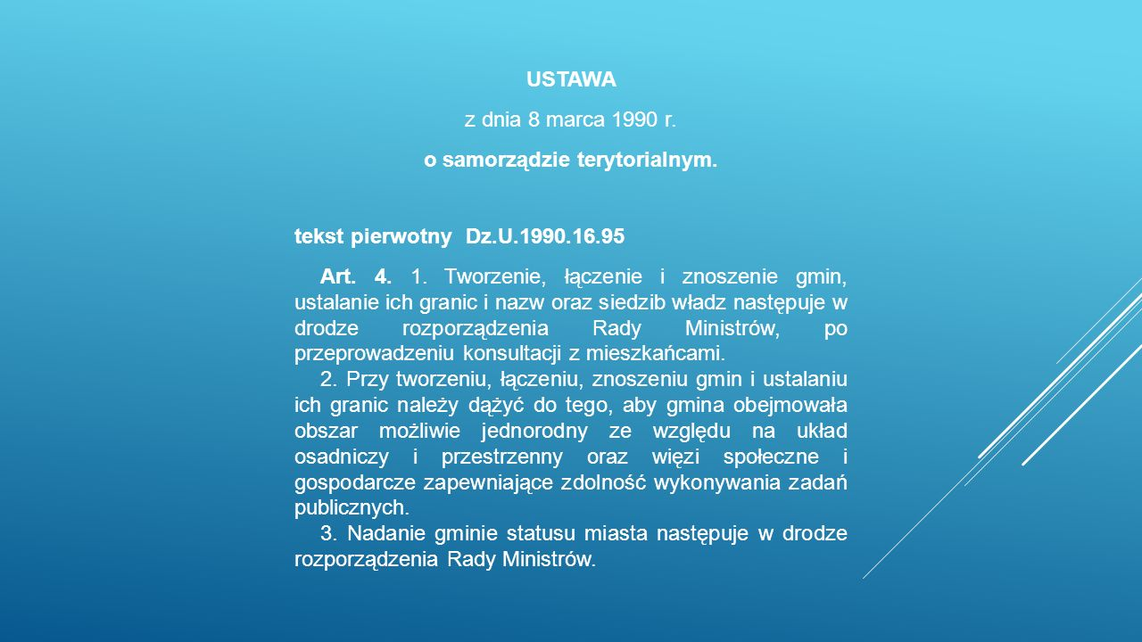 USTAWA z dnia 8 marca 1990 r. o samorządzie terytorialnym.