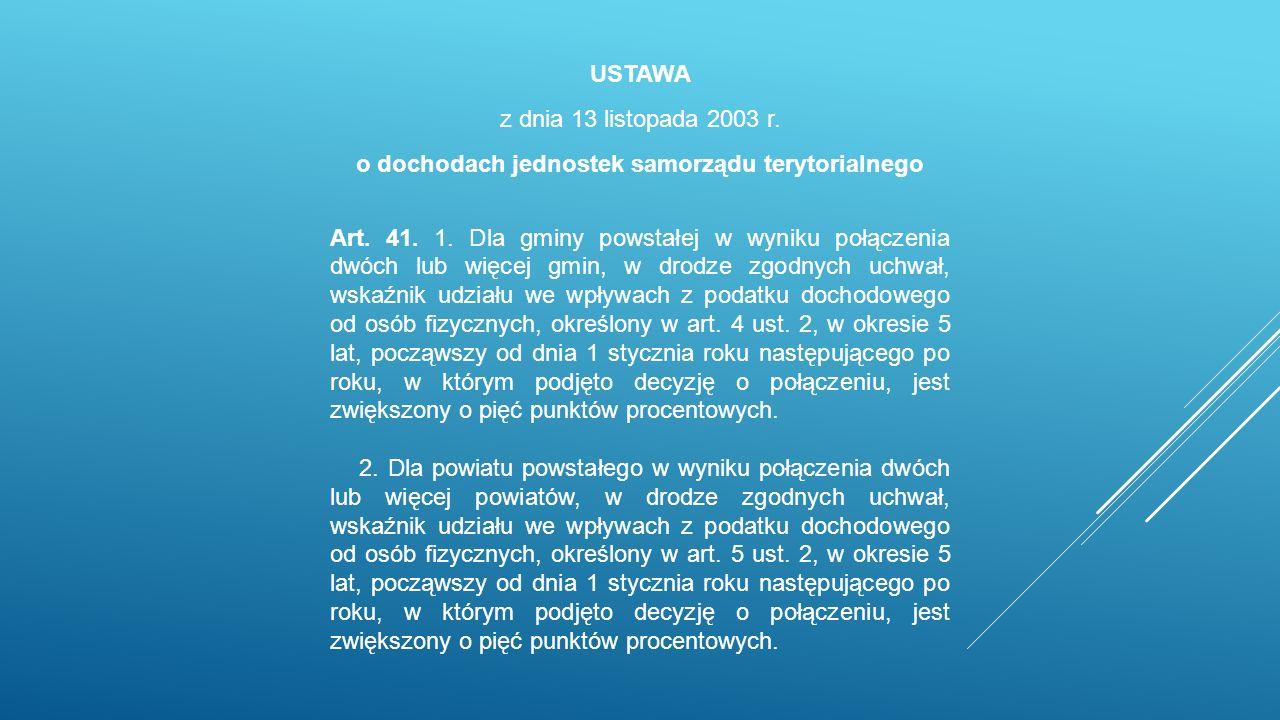 USTAWA z dnia 13 listopada 2003 r. o dochodach jednostek samorządu terytorialnego Art.