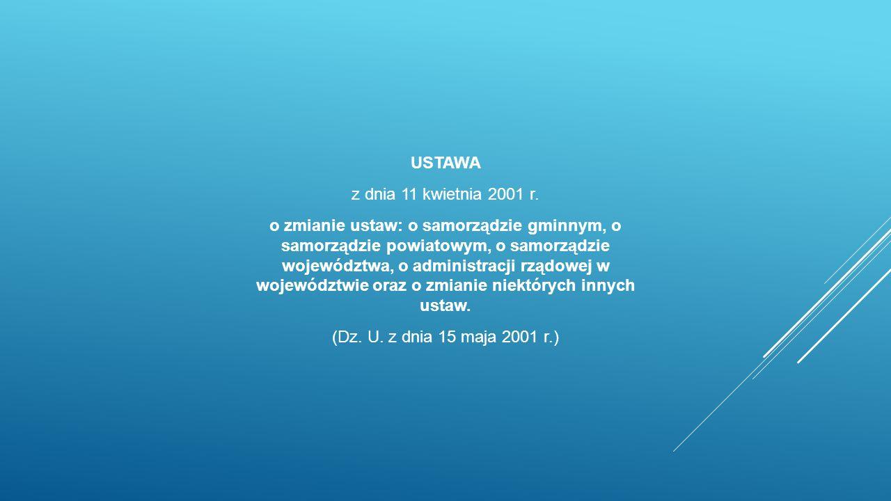 USTAWA z dnia 11 kwietnia 2001 r.