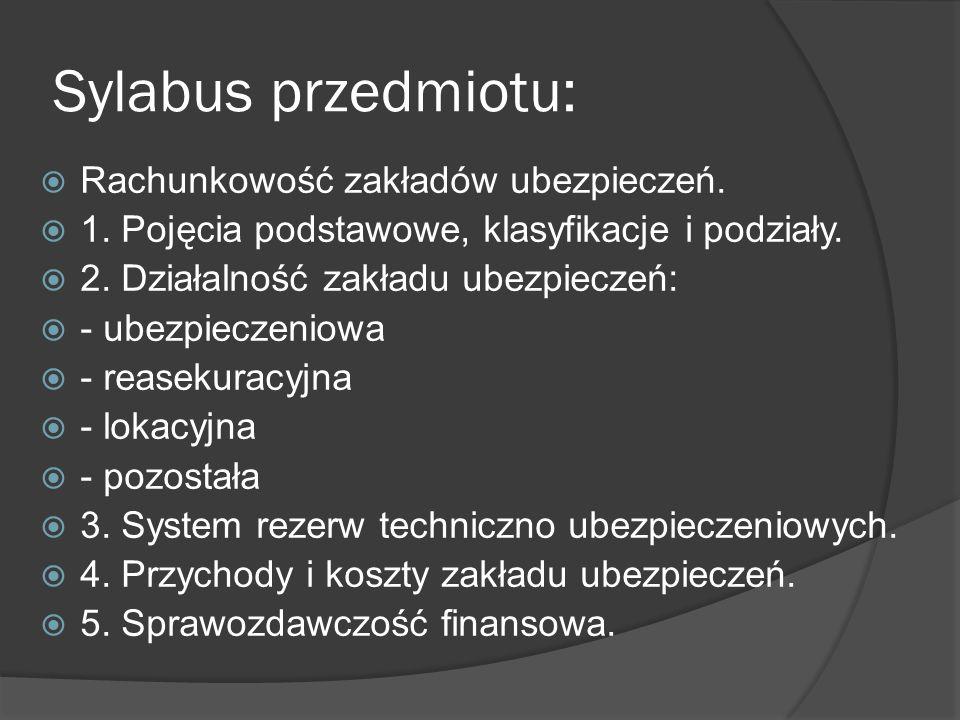 Sylabus przedmiotu: Rachunkowość zakładów ubezpieczeń. 1. Pojęcia podstawowe, klasyfikacje i podziały. 2. Działalność zakładu ubezpieczeń: - ubezpiecz