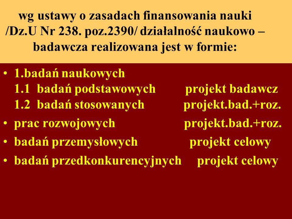 wg ustawy o zasadach finansowania nauki /Dz.U Nr 238.