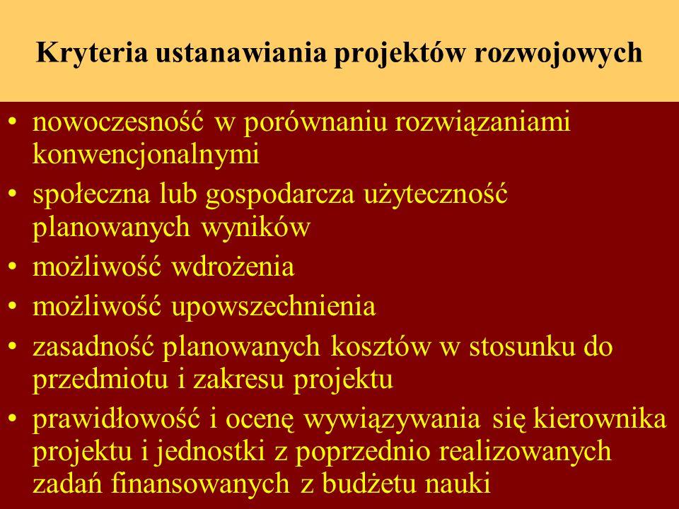 Kryteria ustanawiania projektów rozwojowych nowoczesność w porównaniu rozwiązaniami konwencjonalnymi społeczna lub gospodarcza użyteczność planowanych