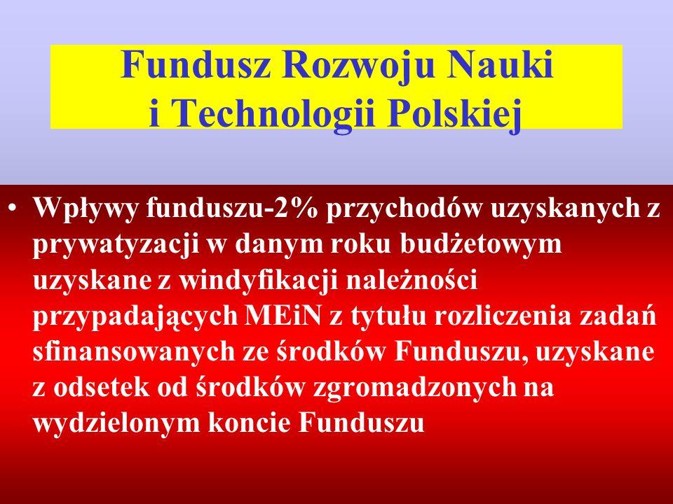 Fundusz Rozwoju Nauki i Technologii Polskiej Wpływy funduszu-2% przychodów uzyskanych z prywatyzacji w danym roku budżetowym uzyskane z windyfikacji należności przypadających MEiN z tytułu rozliczenia zadań sfinansowanych ze środków Funduszu, uzyskane z odsetek od środków zgromadzonych na wydzielonym koncie Funduszu