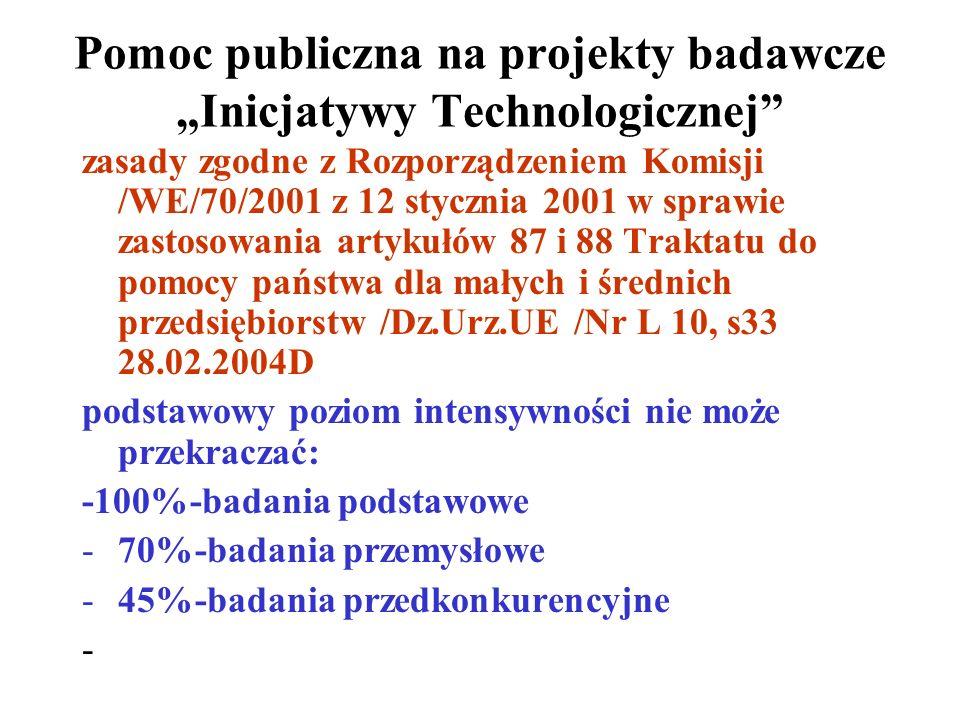 Pomoc publiczna na projekty badawcze Inicjatywy Technologicznej zasady zgodne z Rozporządzeniem Komisji /WE/70/2001 z 12 stycznia 2001 w sprawie zastosowania artykułów 87 i 88 Traktatu do pomocy państwa dla małych i średnich przedsiębiorstw /Dz.Urz.UE /Nr L 10, s33 28.02.2004D podstawowy poziom intensywności nie może przekraczać: -100%-badania podstawowe -70%-badania przemysłowe -45%-badania przedkonkurencyjne -