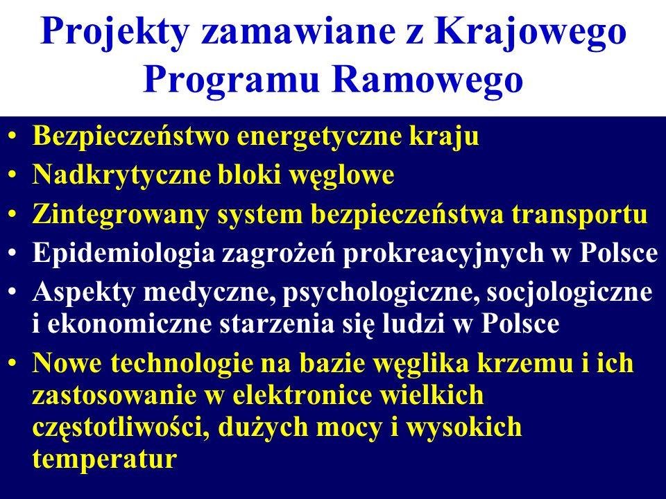 Projekty zamawiane z Krajowego Programu Ramowego Bezpieczeństwo energetyczne kraju Nadkrytyczne bloki węglowe Zintegrowany system bezpieczeństwa trans