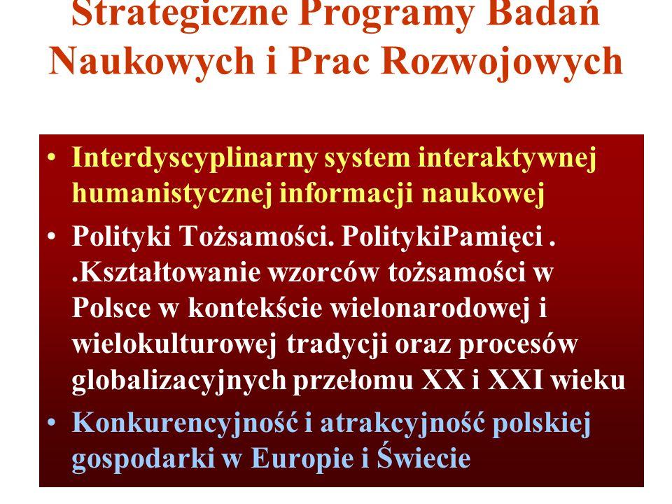 Strategiczne Programy Badań Naukowych i Prac Rozwojowych Interdyscyplinarny system interaktywnej humanistycznej informacji naukowej Polityki Tożsamośc