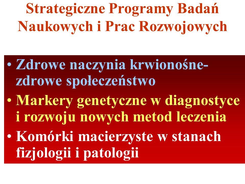 Strategiczne Programy Badań Naukowych i Prac Rozwojowych Zdrowe naczynia krwionośne- zdrowe społeczeństwo Markery genetyczne w diagnostyce i rozwoju nowych metod leczenia Komórki macierzyste w stanach fizjologii i patologii