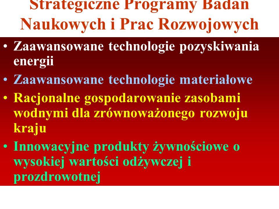Strategiczne Programy Badań Naukowych i Prac Rozwojowych Zaawansowane technologie pozyskiwania energii Zaawansowane technologie materiałowe Racjonalne