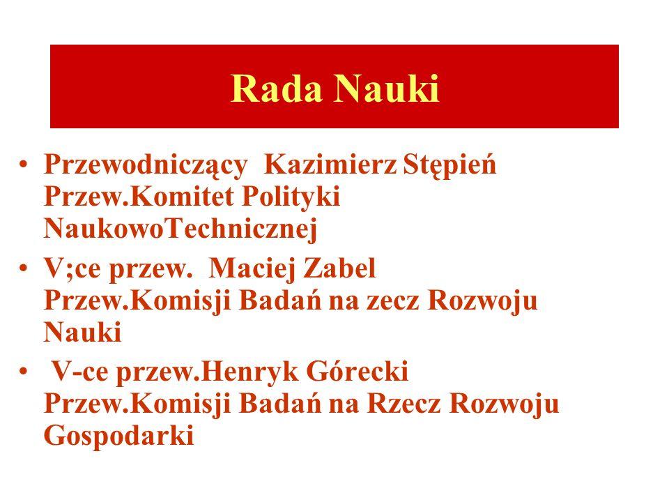 Rada Nauki Przewodniczący Kazimierz Stępień Przew.Komitet Polityki NaukowoTechnicznej V;ce przew.