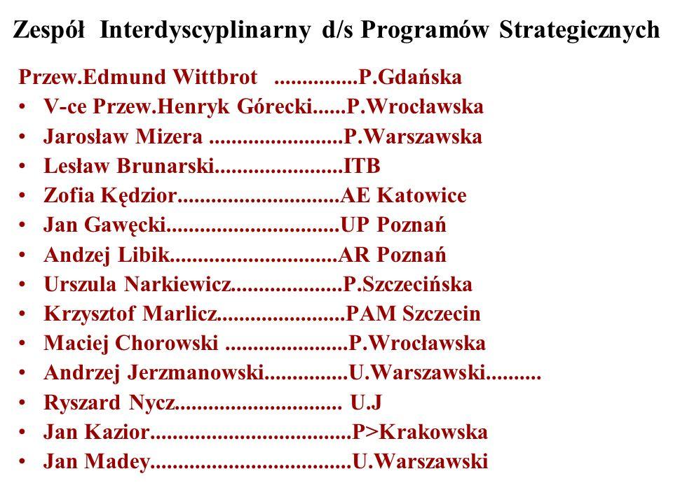 Zespół Interdyscyplinarny d/s Programów Strategicznych Przew.Edmund Wittbrot...............P.Gdańska V-ce Przew.Henryk Górecki......P.Wrocławska Jarosław Mizera........................P.Warszawska Lesław Brunarski.......................ITB Zofia Kędzior.............................AE Katowice Jan Gawęcki...............................UP Poznań Andzej Libik..............................AR Poznań Urszula Narkiewicz....................P.Szczecińska Krzysztof Marlicz.......................PAM Szczecin Maciej Chorowski......................P.Wrocławska Andrzej Jerzmanowski...............U.Warszawski..........