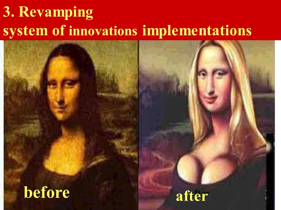before after before after 3. Revamping system of innovations implementations before after