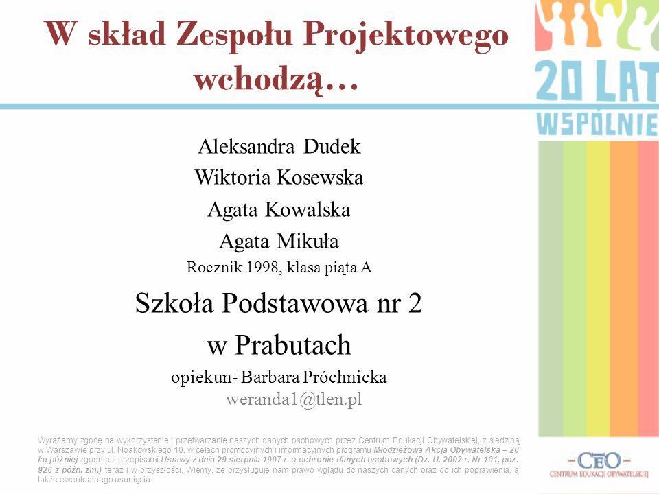 Aleksandra Dudek Wiktoria Kosewska Agata Kowalska Agata Mikuła Rocznik 1998, klasa piąta A Szkoła Podstawowa nr 2 w Prabutach opiekun- Barbara Próchni