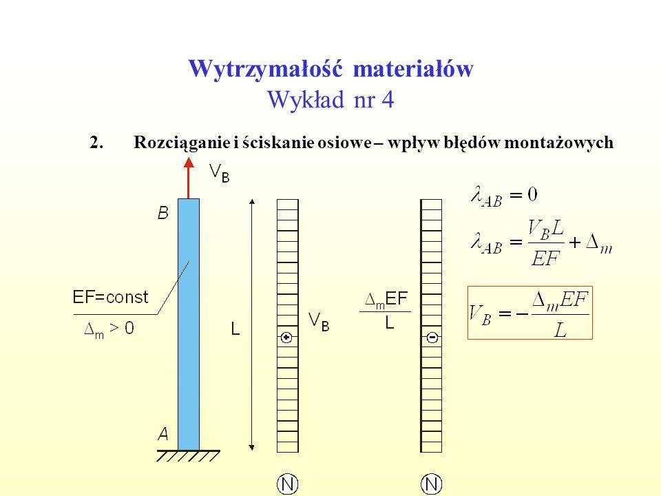 Wytrzymałość materiałów Wykład nr 4 2.Rozciąganie i ściskanie osiowe – wpływ błędów montażowych