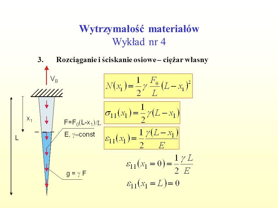 Wytrzymałość materiałów Wykład nr 4 3.Rozciąganie i ściskanie osiowe – ciężar własny /L/L