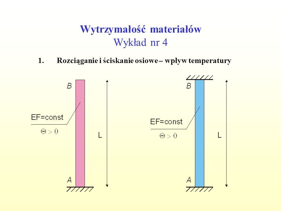 Wytrzymałość materiałów Wykład nr 4 1.Rozciąganie i ściskanie osiowe – wpływ temperatury