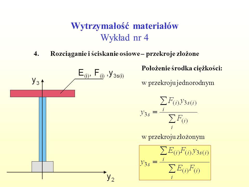 Wytrzymałość materiałów Wykład nr 4 4.Rozciąganie i ściskanie osiowe – przekroje złożone Położenie środka ciężkości: w przekroju jednorodnym w przekro
