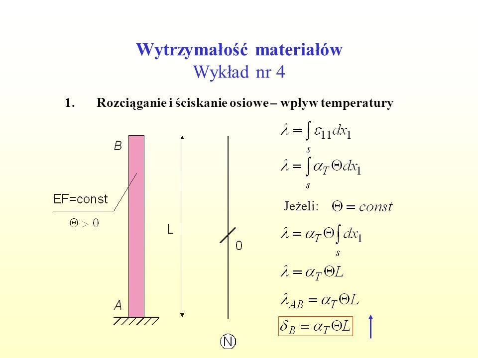 Wytrzymałość materiałów Wykład nr 4 1.Rozciąganie i ściskanie osiowe – wpływ temperatury Jeżeli: