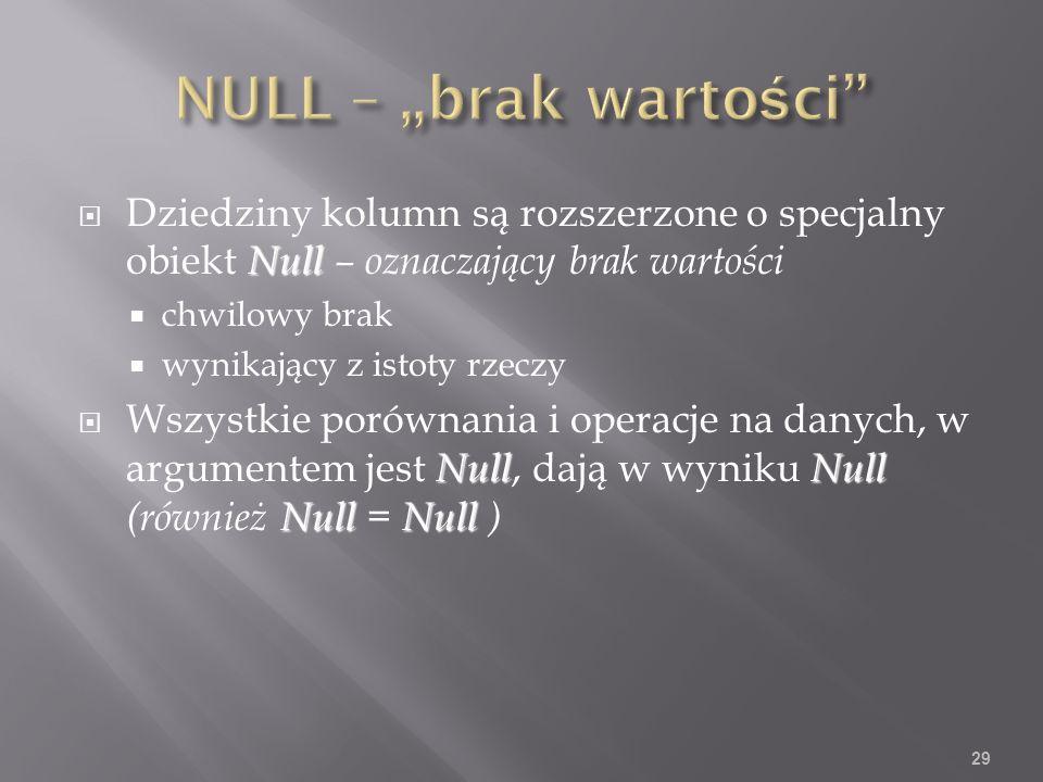 Null Dziedziny kolumn są rozszerzone o specjalny obiekt Null – oznaczający brak wartości chwilowy brak wynikający z istoty rzeczy NullNull NullNull Wszystkie porównania i operacje na danych, w argumentem jest Null, dają w wyniku Null (również Null = Null ) 29