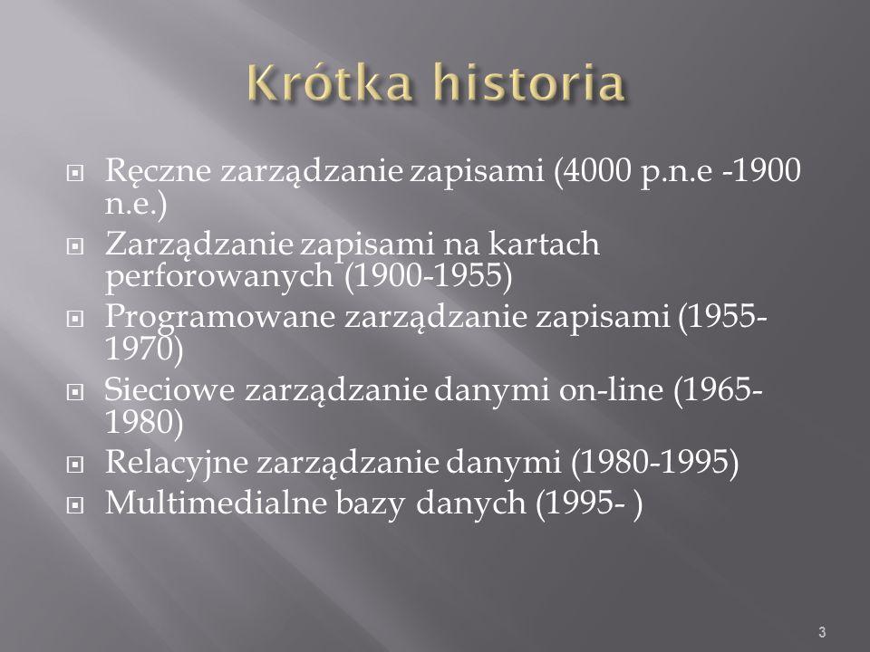 Ręczne zarządzanie zapisami (4000 p.n.e -1900 n.e.) Zarządzanie zapisami na kartach perforowanych (1900-1955) Programowane zarządzanie zapisami (1955- 1970) Sieciowe zarządzanie danymi on-line (1965- 1980) Relacyjne zarządzanie danymi (1980-1995) Multimedialne bazy danych (1995- ) 3