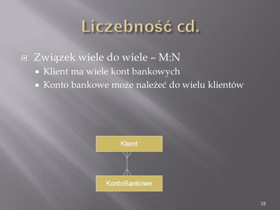 Związek wiele do wiele – M:N Klient ma wiele kont bankowych Konto bankowe może należeć do wielu klientów 38 Klient KontoBankowe