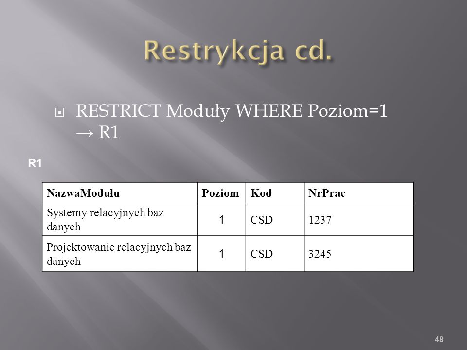 RESTRICT Moduły WHERE Poziom=1 R1 NazwaModułuPoziomKodNrPrac Systemy relacyjnych baz danych 1 CSD1237 Projektowanie relacyjnych baz danych 1 CSD3245 48 R1
