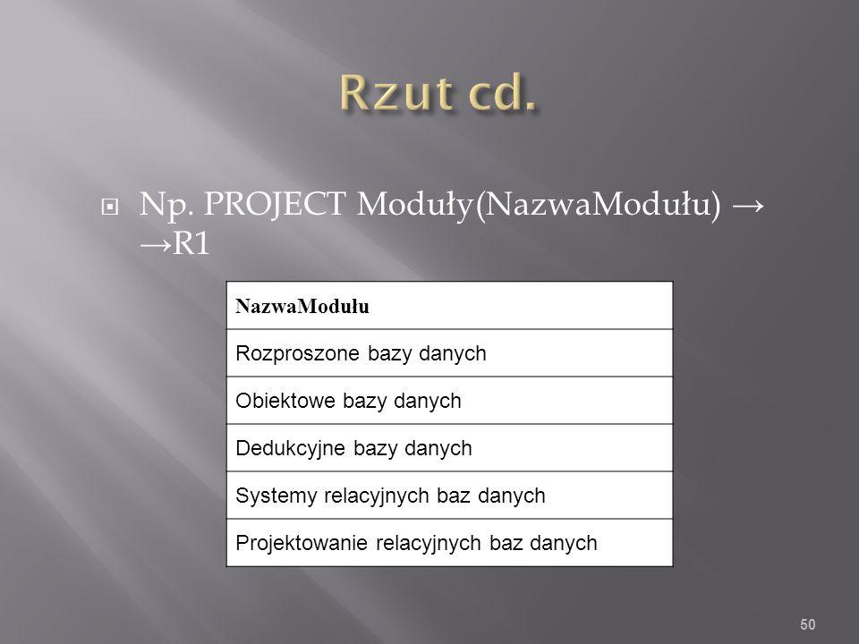 Np. PROJECT Moduły(NazwaModułu) R1 NazwaModułu Rozproszone bazy danych Obiektowe bazy danych Dedukcyjne bazy danych Systemy relacyjnych baz danych Pro
