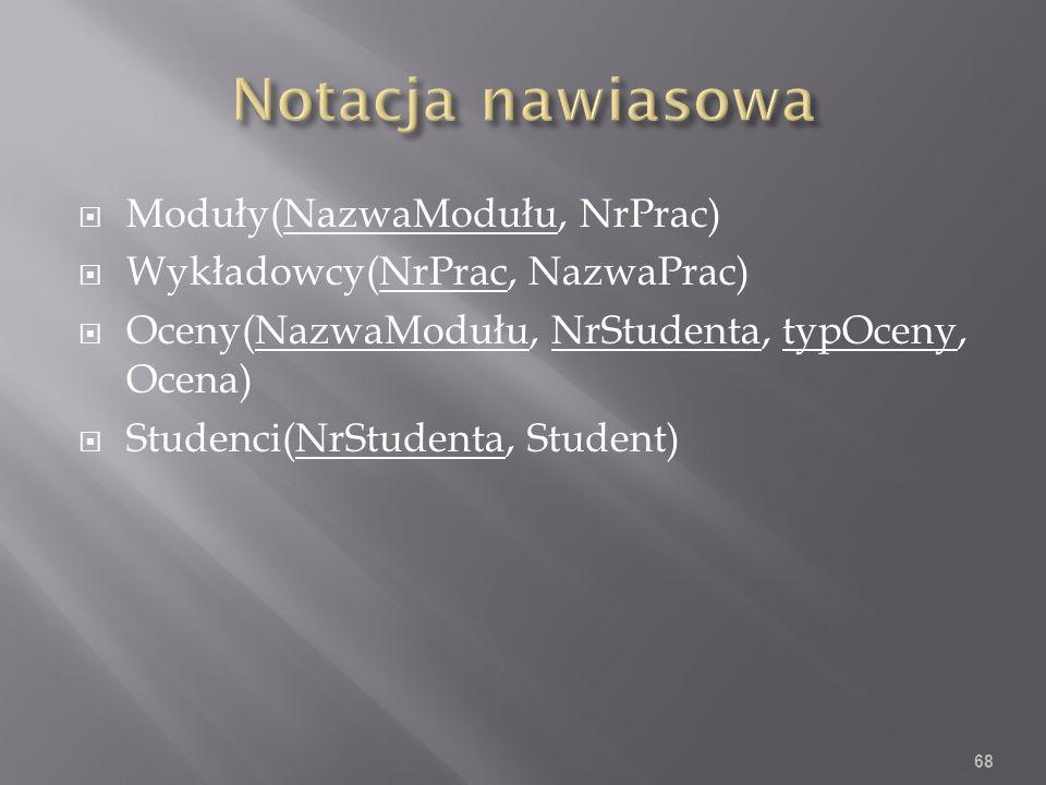 Moduły(NazwaModułu, NrPrac) Wykładowcy(NrPrac, NazwaPrac) Oceny(NazwaModułu, NrStudenta, typOceny, Ocena) Studenci(NrStudenta, Student) 68