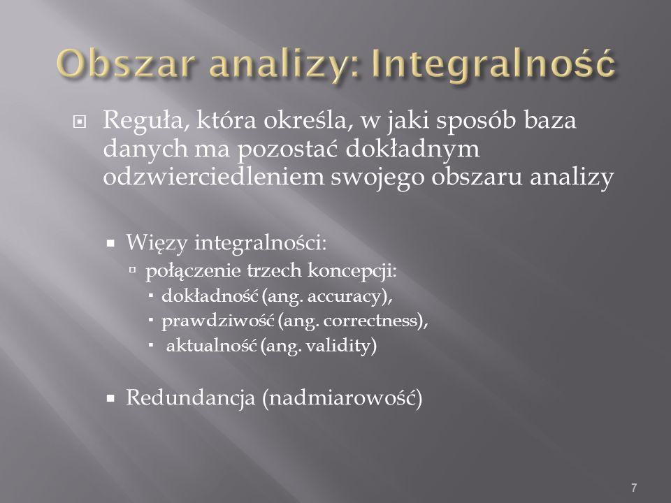 Reguła, która określa, w jaki sposób baza danych ma pozostać dokładnym odzwierciedleniem swojego obszaru analizy Więzy integralności: połączenie trzech koncepcji: dokładność (ang.