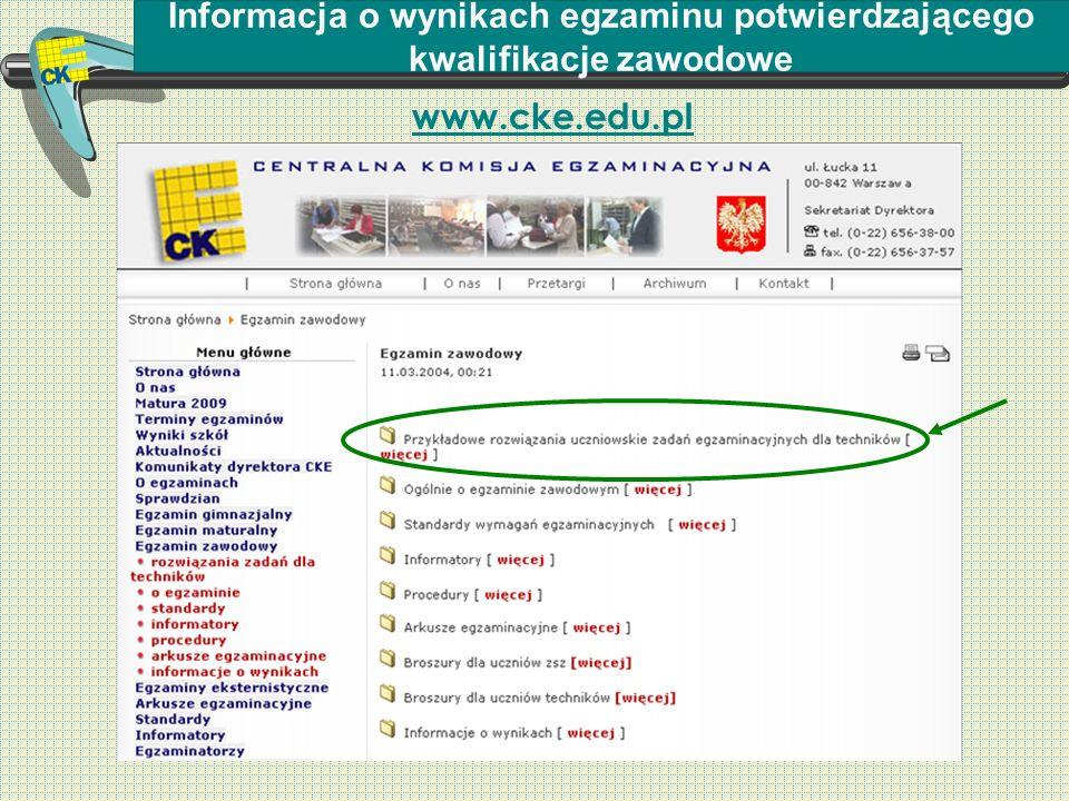 Informacja o wynikach egzaminu potwierdzającego kwalifikacje zawodowe www.cke.edu.pl