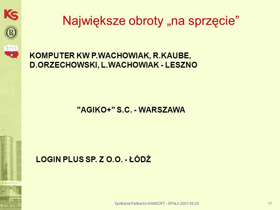 Spotkanie Partnerów KAMSOFT - SPAŁA 2007-05-2011 Największe obroty na sprzęcie KOMPUTER KW P.WACHOWIAK, R.KAUBE, D.ORZECHOWSKI, L.WACHOWIAK - LESZNO LOGIN PLUS SP.
