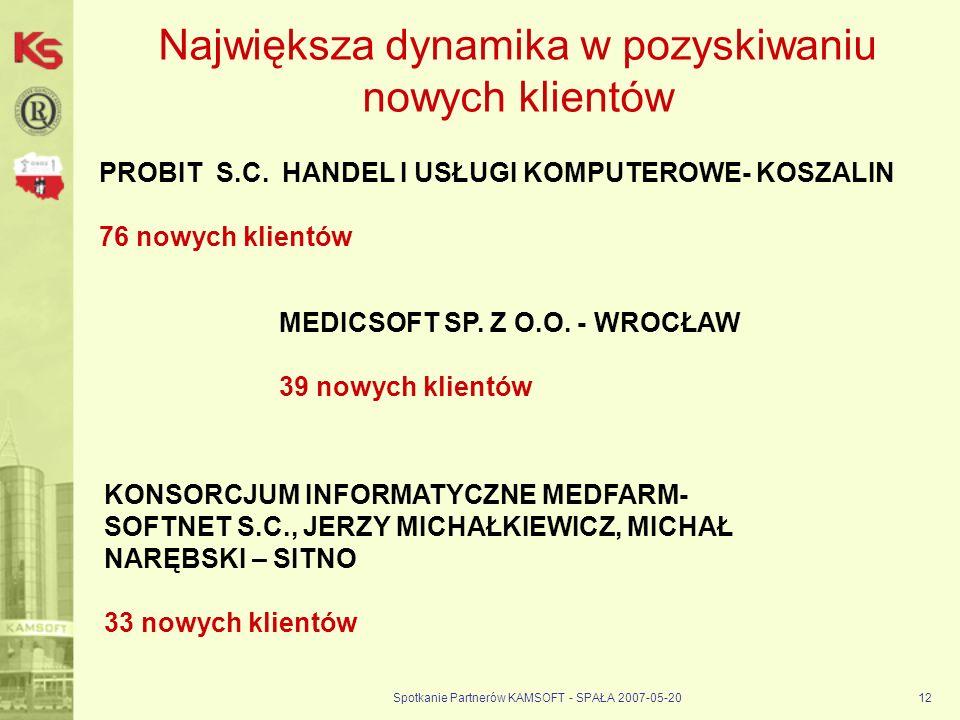 Spotkanie Partnerów KAMSOFT - SPAŁA 2007-05-2012 Największa dynamika w pozyskiwaniu nowych klientów PROBIT S.C.