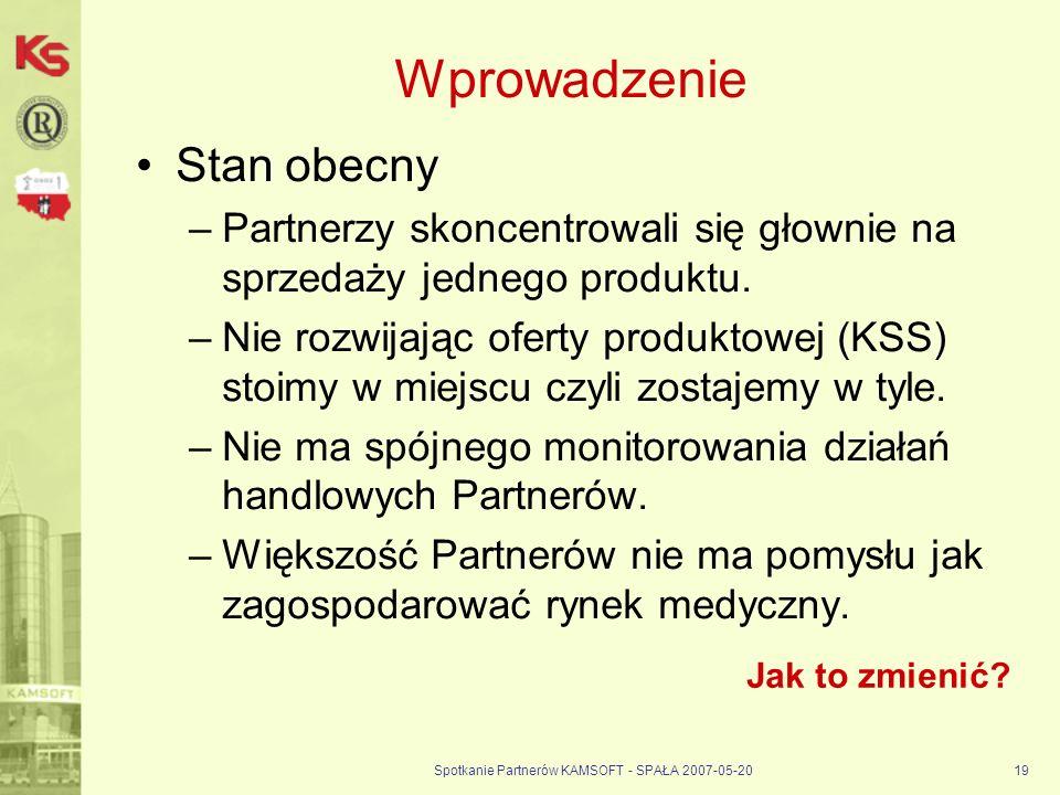 Spotkanie Partnerów KAMSOFT - SPAŁA 2007-05-2019 Wprowadzenie Stan obecny –Partnerzy skoncentrowali się głownie na sprzedaży jednego produktu.
