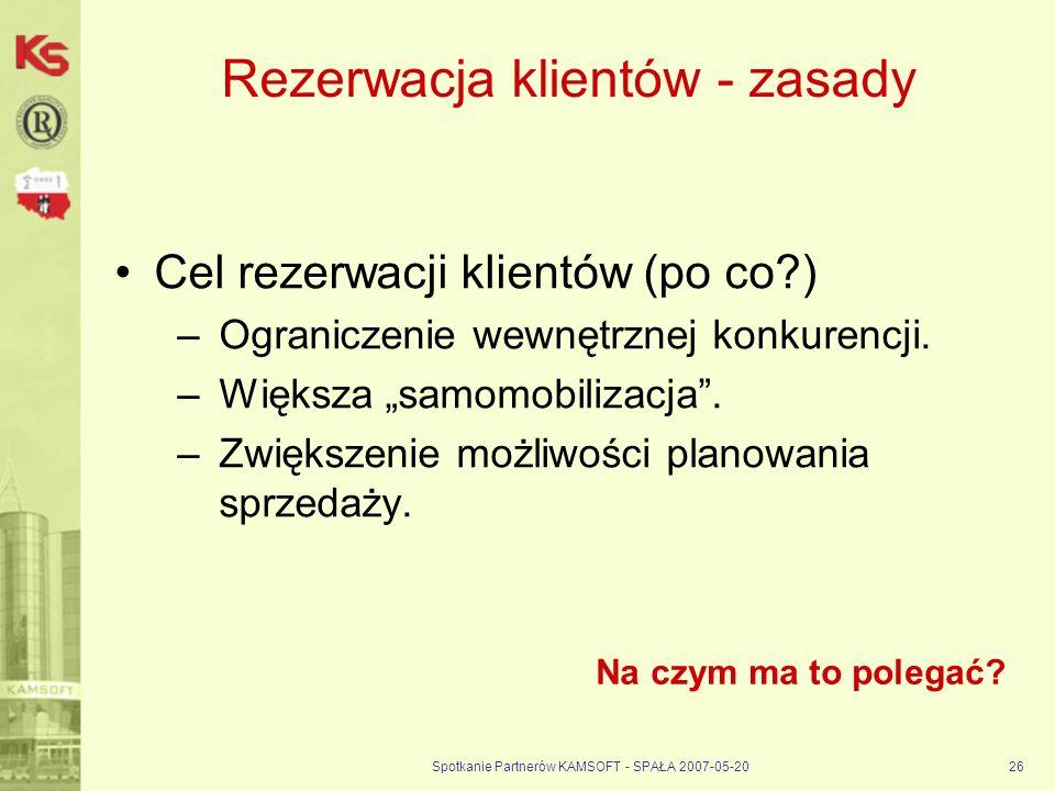 Spotkanie Partnerów KAMSOFT - SPAŁA 2007-05-2026 Rezerwacja klientów - zasady Cel rezerwacji klientów (po co?) –Ograniczenie wewnętrznej konkurencji.
