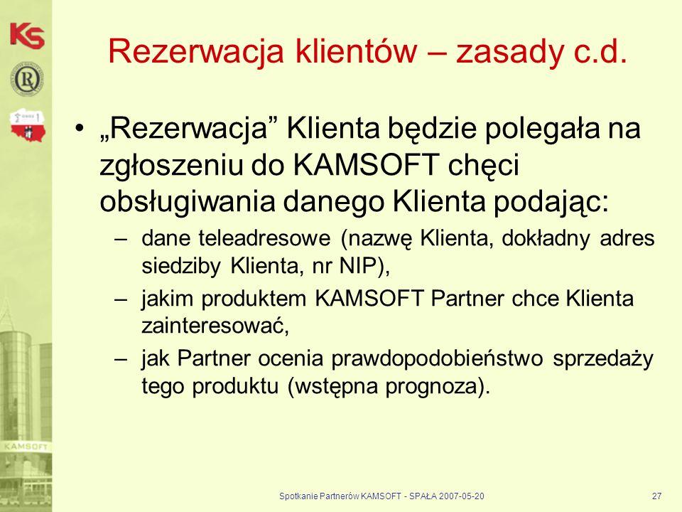 Spotkanie Partnerów KAMSOFT - SPAŁA 2007-05-2027 Rezerwacja klientów – zasady c.d.