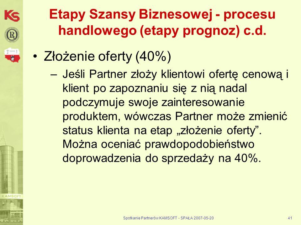 Spotkanie Partnerów KAMSOFT - SPAŁA 2007-05-2041 Etapy Szansy Biznesowej - procesu handlowego (etapy prognoz) c.d.