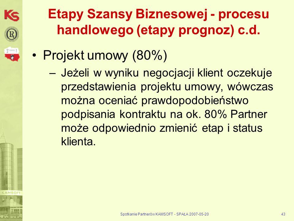 Spotkanie Partnerów KAMSOFT - SPAŁA 2007-05-2043 Etapy Szansy Biznesowej - procesu handlowego (etapy prognoz) c.d.