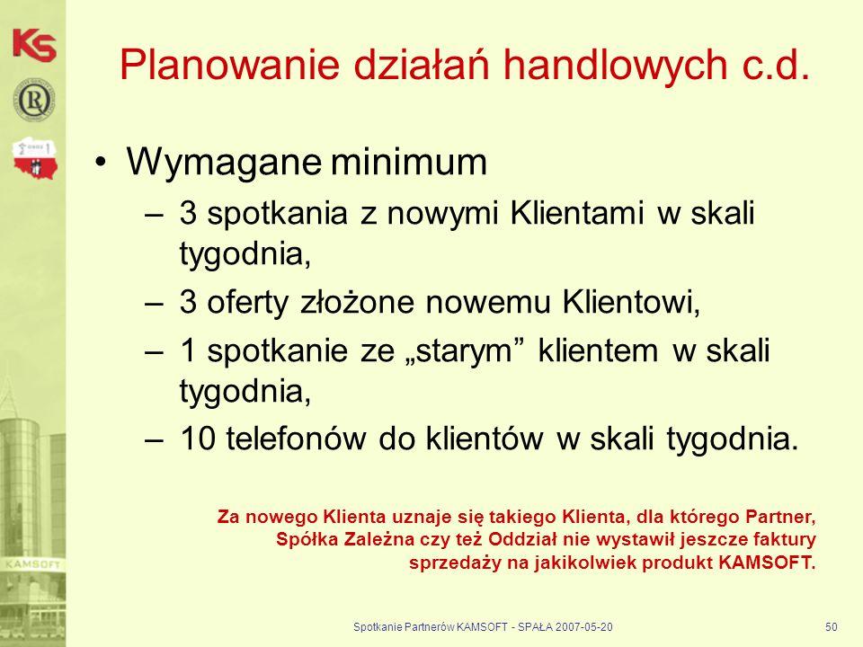 Spotkanie Partnerów KAMSOFT - SPAŁA 2007-05-2050 Planowanie działań handlowych c.d.