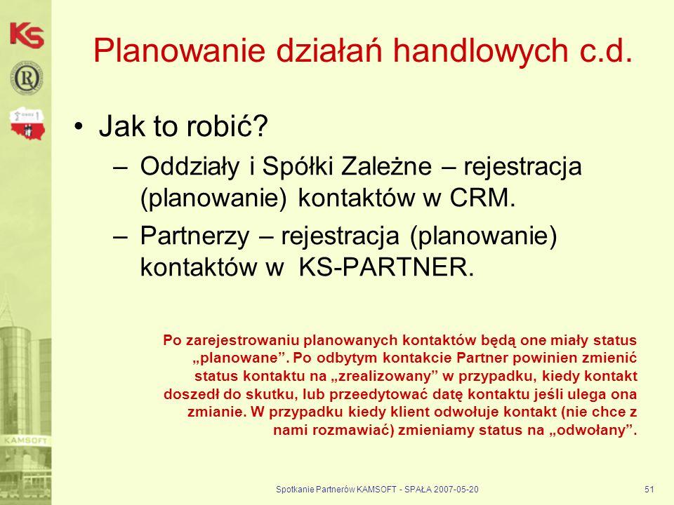 Spotkanie Partnerów KAMSOFT - SPAŁA 2007-05-2051 Planowanie działań handlowych c.d.