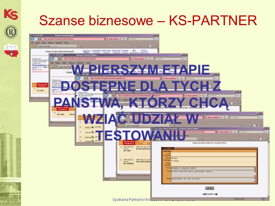 Spotkanie Partnerów KAMSOFT - SPAŁA 2007-05-2054 Szanse biznesowe – KS-PARTNER W PIERSZYM ETAPIE DOSTĘPNE DLA TYCH Z PAŃSTWA, KTÓRZY CHCĄ WZIĄĆ UDZIAŁ W TESTOWANIU