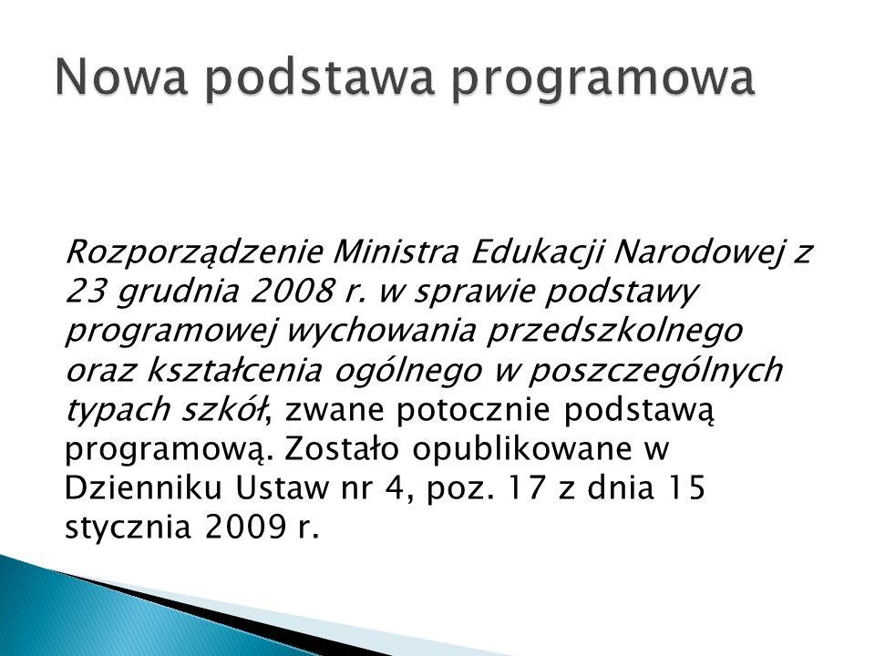 Rozporządzenie Ministra Edukacji Narodowej z 23 grudnia 2008 r.