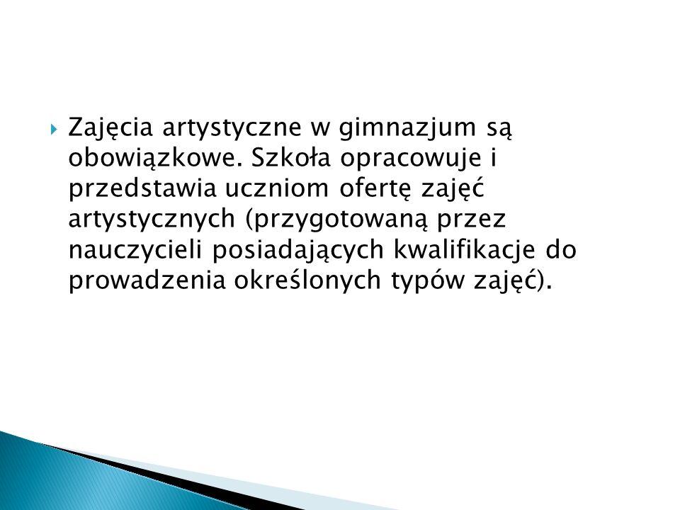 Zajęcia artystyczne w gimnazjum są obowiązkowe.