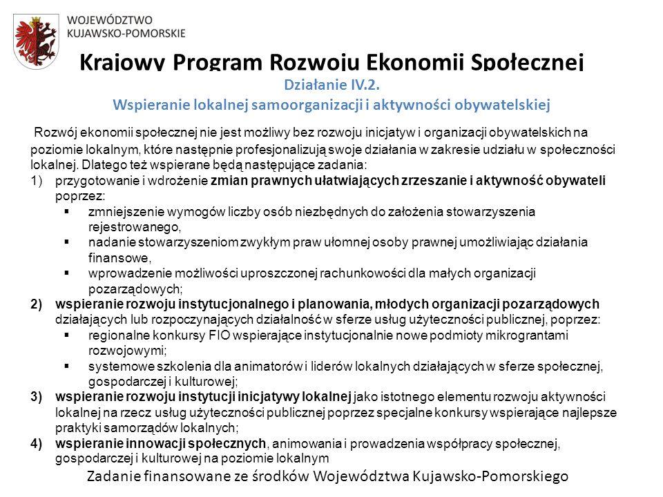 Zadanie finansowane ze środków Województwa Kujawsko-Pomorskiego Krajowy Program Rozwoju Ekonomii Społecznej Rozwój ekonomii społecznej nie jest możliwy bez rozwoju inicjatyw i organizacji obywatelskich na poziomie lokalnym, które następnie profesjonalizują swoje działania w zakresie udziału w społeczności lokalnej.