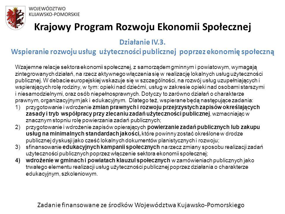 Zadanie finansowane ze środków Województwa Kujawsko-Pomorskiego Krajowy Program Rozwoju Ekonomii Społecznej Wzajemne relacje sektora ekonomii społecznej, z samorządem gminnym i powiatowym, wymagają zintegrowanych działań, na rzecz aktywnego włączenia się w realizację lokalnych usług użyteczności publicznej.