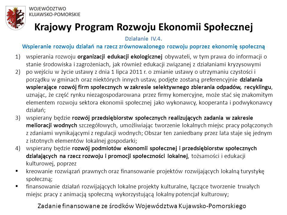 Zadanie finansowane ze środków Województwa Kujawsko-Pomorskiego Krajowy Program Rozwoju Ekonomii Społecznej Działanie IV.4.