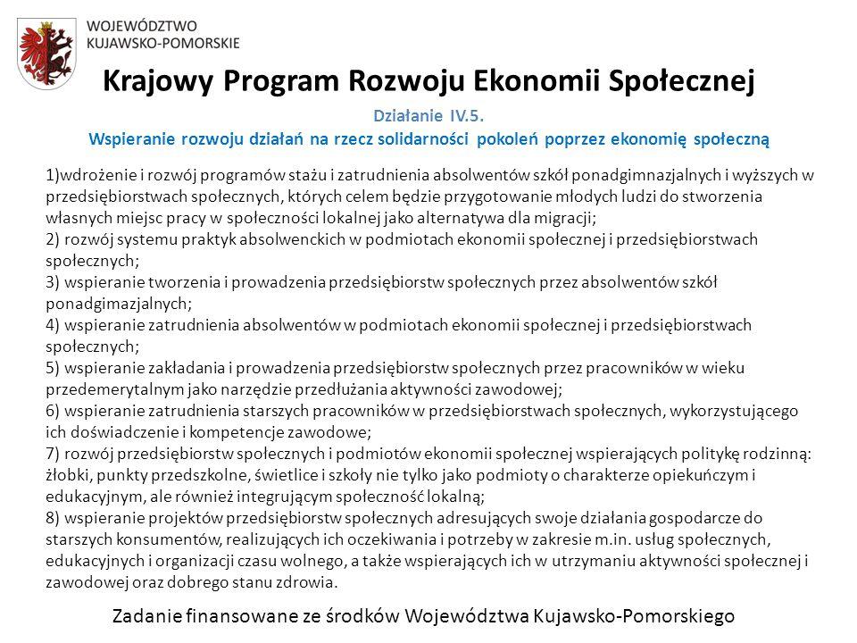 Zadanie finansowane ze środków Województwa Kujawsko-Pomorskiego Krajowy Program Rozwoju Ekonomii Społecznej Działanie IV.5.