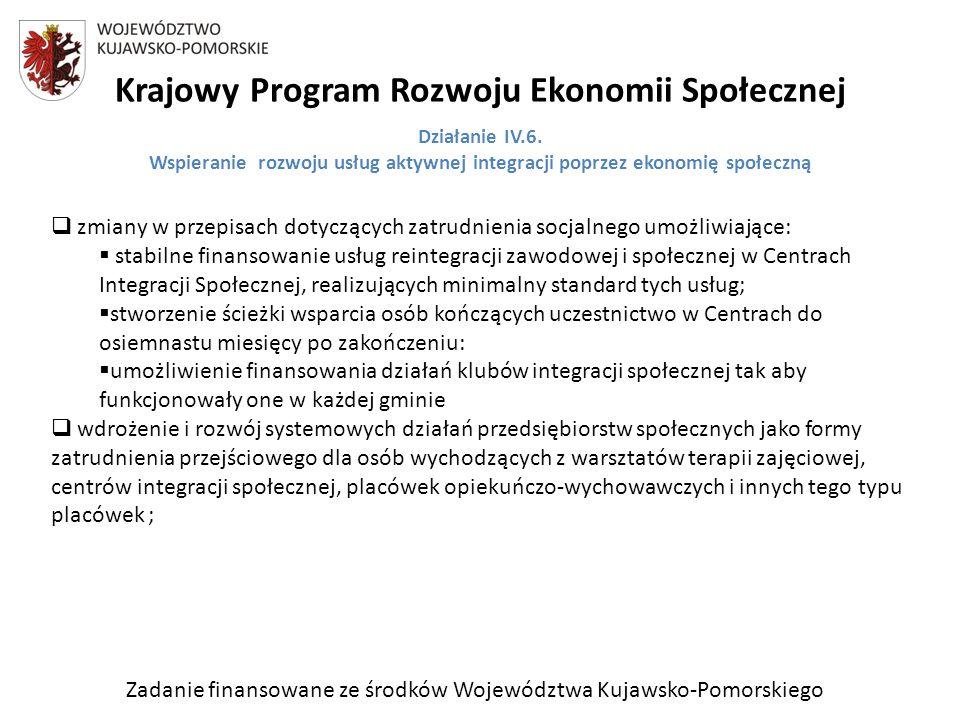 Zadanie finansowane ze środków Województwa Kujawsko-Pomorskiego Krajowy Program Rozwoju Ekonomii Społecznej Działanie IV.6.