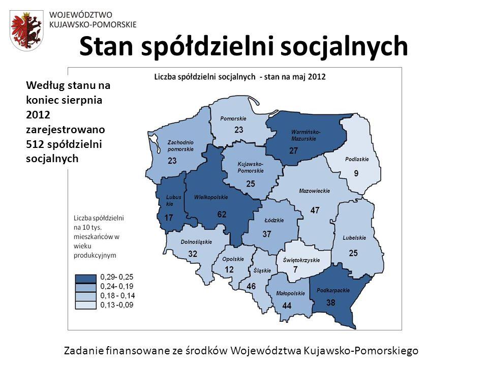 Zadanie finansowane ze środków Województwa Kujawsko-Pomorskiego Stan spółdzielni socjalnych Według stanu na koniec sierpnia 2012 zarejestrowano 512 spółdzielni socjalnych