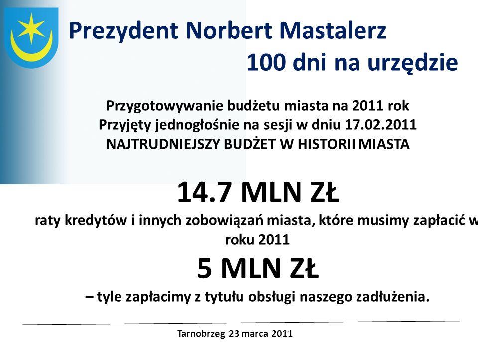 Projekty unijne Prezydent Norbert Mastalerz 100 dni na urzędzie Tarnobrzeg 23 marca 2011 Dziesiątki, setki spotkań z mieszkańcami Tarnobrzega Cotygodniowe dyżury otwarte Wspieranie licznych akcji charytatywnych
